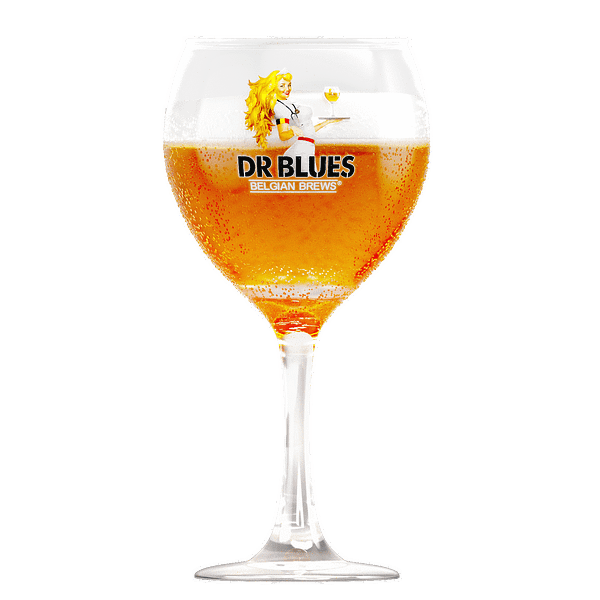 Transparent glass with beer